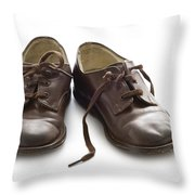 Pair Of Vintage Child Leather Shoes Throw Pillow