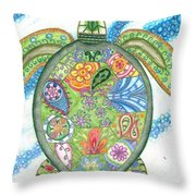 Paisley Sea Turtle Throw Pillow