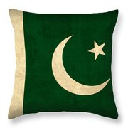 Pakistan Flag Vintage Distressed Finish Throw Pillow by Design Turnpike