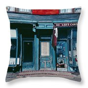 Palace Barber Shop And Lees Candy Store Throw Pillow