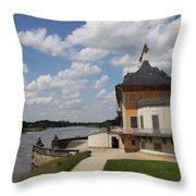 Palace Pillnitz And River Elbe Throw Pillow