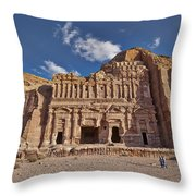 Palace Tomb In Nabataean Ancient Town Petra Throw Pillow
