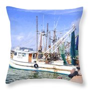 Palacios Texas Shrimp Boat Lineup Throw Pillow
