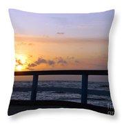 Palanga Sea Bridge At Sunset. Lithuania Throw Pillow