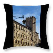 Palazzo Pretorio And The Tower Of Little Pig Throw Pillow