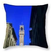 Palazzo Vecchio Clock Tower Throw Pillow