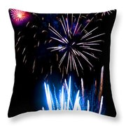 Pale Blue And Red Fireworks Throw Pillow