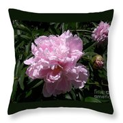 Pale Pink Peony Watercolor Effect Throw Pillow
