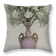 Pale Vase White Flowers Throw Pillow by Good Taste Art
