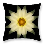 Pale Yellow Daffodil Flower Mandala Throw Pillow by David J Bookbinder