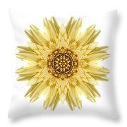 Pale Yellow Gerbera Daisy I Flower Mandala White Throw Pillow