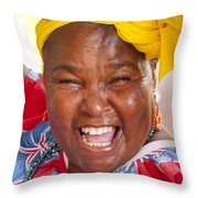 Palenquera In Cartagena Colombia Throw Pillow