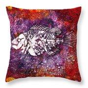 Paleo Fish Throw Pillow
