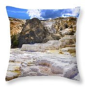 Palette Spring Terrace Panorama - Yellowstone National Park Wyoming Throw Pillow
