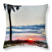 Palm And Sun Throw Pillow