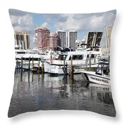 Palm Beach Docks Throw Pillow