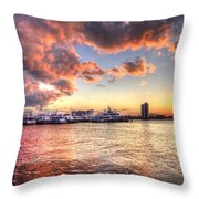 Palm Beach Harbor With West Palm Beach Skyline Throw Pillow by Debra and Dave Vanderlaan