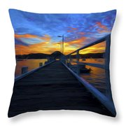 Palm Beach Wharf At Sunset Throw Pillow