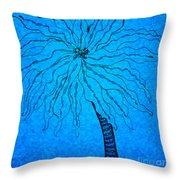Palm Blue Throw Pillow