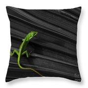 Palm Leaf Lizard Throw Pillow