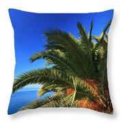 Palm Over The Sea Throw Pillow