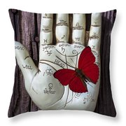 Palm Reading Hand And Butterfly Throw Pillow