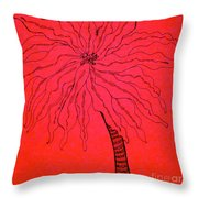 Palm Red Throw Pillow