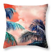 Palmscape Red Throw Pillow