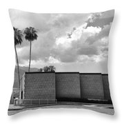 Palm Springs City Hall Bw Palm Springs Throw Pillow