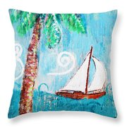 Palm Tree And Sailboat By Jan Marvin Throw Pillow