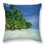 Palm Tree Lined Beach Papua New Guinea Throw Pillow
