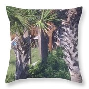 Palm Tree Scenery Throw Pillow