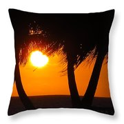 Palm Tree Silhouette At Sunset Throw Pillow