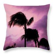 Palm Tree Silhouettes At Dusk In Aruba Throw Pillow