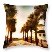 Palm Tree Sunrise Throw Pillow