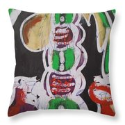 Pen And Drawing Batik Palm Tree With Keg Of Palm Wine. Throw Pillow