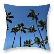 Palm Trees Against A Clear Blue Sky Throw Pillow