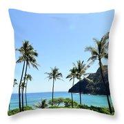 Palm Trees Along The Coast Of Waimanalo Throw Pillow