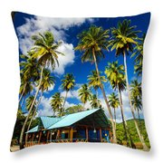 Palm Trees And Colorful Building Throw Pillow