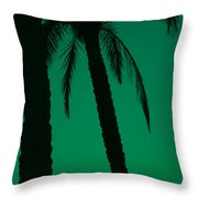Palm Trees And Emerald Sky. Throw Pillow