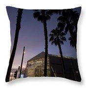 Palm Trees And Hp Pavilion San Jose At Night Throw Pillow