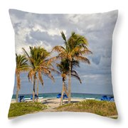 Palm Trees At The Beach Throw Pillow