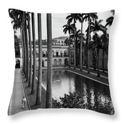 Palm Trees Bordering A Pool Throw Pillow
