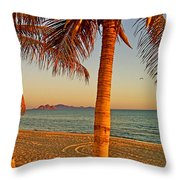 Palm Trees By A Restaurant On The Beach In Bahia Kino-sonora-mexico Throw Pillow