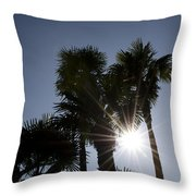 Palm Trees In Backlit Throw Pillow