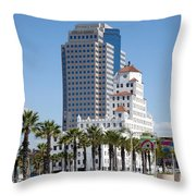 Palm Trees In Downtown Long Beach Throw Pillow