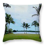 Palm Trees In Oahu Throw Pillow