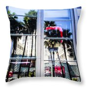 Palm Trees In Reflection Throw Pillow