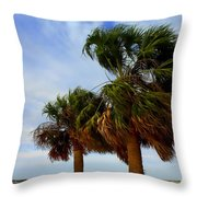 Palm Trees In The Wind Throw Pillow