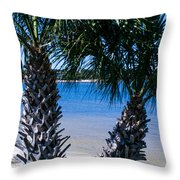 Palm Trees Of Gulf Breeze Throw Pillow